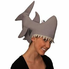 ADULT GRAY SHARK HAT FUNNY JAWS KILLER SHARK FISH MARINE ANIMAL COSTUME HAT