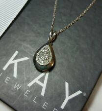 Kay Jewelers Kays Sterling silver Pave diamond pear drop pendant Necklace