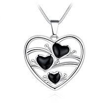 New Women Lady 925 Sterling Silver Heart Flower Pendant Necklace Chain Jewelry