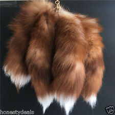 "40cm / 16"" Brown-White. Real Crystal Fox Fur Tail Keychain Bag Tassel Tag Charm"