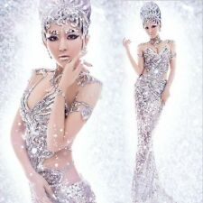 New Sexy Women's Silver Sequins Pageant Dress Mermaid Halloween Costume