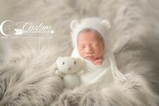 LARgE Wolf Brown Gray Faux Sheepskin Fur Newborn Photo Props, Soft Faux Fur