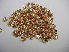36 swarovski xilion rhinestone rondelles,10mm crystal / gold plated