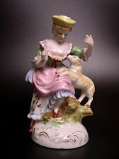 VTG OCCUPIED JAPAN COLONIAL LADY WITH A LITTLE LAMB FIGURINE STATUE HP, GILDED