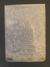 Sizzix Large Embossing Folder BIRTHDAY PARTY HATS #2  fits Cuttlebug & Wizard