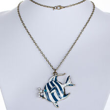 Vogue Blue zebra Fish pearl Crystal Pendant long Chain Necklace Women jewelry
