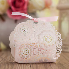 10X Pink Lace Laser Cut Wedding Favour Sweet Gift Boxes Bags Table Decoration