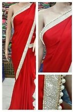BEAUTIFUL DESIGNER PARTY WEAR RED COLOR PEARLBORDER WORK SAREE