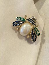 NEW GREEN BEE BROOCH Bridal Jewelry wedding party Diamante Crystal Gold