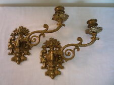 Pair Vintage Style Decorative Heavy Brass Candlestick Holder Wall Sconce Piano