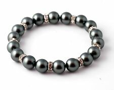 Gray Pearl Stretch Bracelet 7.5 Inch