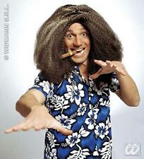 Mens Brown Frizzy Wig Justin Lee Collins Tropical Beach Party Fancy Dress
