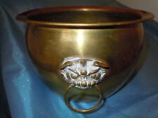 VINTAGE BRASS FOO DOG DRAGON HANDLES PLANTER BUCKET HONG KONG ASIAN QUALITY NICE