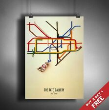 A3 LONDON UNDERGROUND / TUBE MAP POSTER BY TATE GALLERY Wall Decor ART PRINT