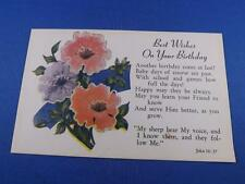 POSTCARD BEST WISHES ON YOUR BIRTHDAY GREETINGS SCRIPTURE FLOWERS VINTAGE