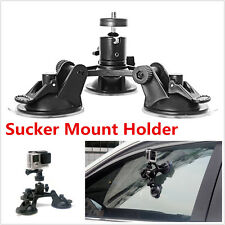 Black Triple Low Angle Camera Sucker Cup Mount Holder for Car Gopro 2 3+4 Camera