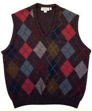 LL Bean LARGE Sweater VEST Multicolor ARGYLE Gray IRELAND Wool MENS Size CHECKED