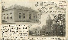 Vintage Postcard Greetings from Logansport IN Library & High School Cass County