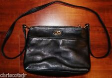 ETIENNE AIGNER Black Leather Crossbody Shoulder Hand BAG Purse Gold Hardware EUC
