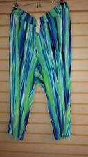 NEW AVENUE WOMENS SIZE 22/24 22W/24W BRIGHT WATERCOLOR STRIPED KNIT CAPRI PANTS