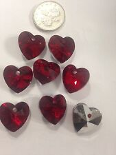 8 Beautiful Crystal Cut Glass Heart Shape Beads - Red Colour -14mm