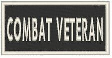 COMBAT VETERAN Embroidered Iron-On Patch Biker Emblem White Border