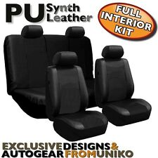 Black PU Faux Leather Car Seat Cover Set Headrests Steering Wheel 13pc CS6
