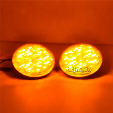2pcs Round Yellow Len LED Reflectors Brake Light for Universal Motorcycle ATV