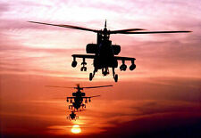 Framed Print - Apache Helicopters on Patrol Sunset (Picture Poster Military Art)