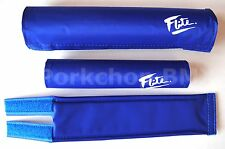 FLITE BMX bicycle foam padset pads BLUE W/ WHITE 80's LOGO *MADE IN USA*