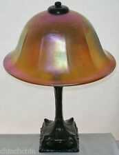 ARTS CRAFTS style MAGNIFICENT LAMP Iridescent GOLD AURENE Glass SHADE Metal BASE