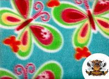 "Polar Fleece Fabric Print Butterflies 2 / 60"" Wide / Sold by the yard S-132"