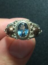 New Natural Blue Topaz Sliver Ring With 9k Gold Accents
