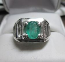 Excellent Mens 1.34ct Natural Zambian Emerald Sterling Silver Ring