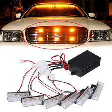 18 Amber LED / 6 Light Head Emergency Hazard Warning 12V Grille Strobe Light