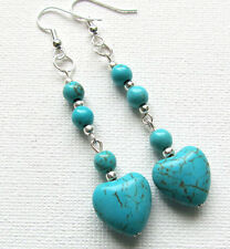 Turquoise Howlite Gemstone Heart Beaded Drop/Dangle PIERCED Earrings Jellybean
