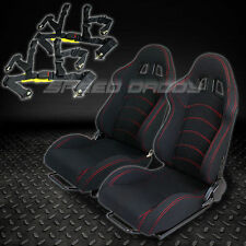 2 X UNIVERSAL TYPE-F1 BLACK WOVEN RACING SEATS+SLIDER+4-POINT HARNESS SEAT BELTS