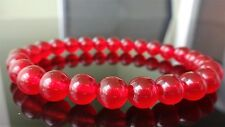 "Genuine Red Jade Bead Bracelet for Men (On Stretch) 8mm AAA 8"" inch"