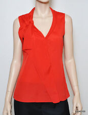 New $158 Tahari MARYANNE Ruffled Tunic Top Tank Shirt Blouse Cami Red L