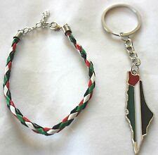 Lot of 2: Palestine Map Flag Keychain, Braided Palestine Flag Bracelet # 13