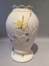 "BELLEEK  ""Summer Garden"" Hurricane Globe Lamp w Yellow Butterfly"