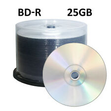 50 BD-R 6x Blu-ray 25GB Blank Media Shiny Silver Discs NEW