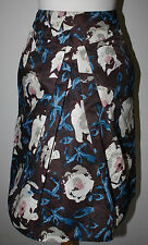 MOSCHINO Brown White Blue Pink Floral Pleat Front Romantic Skirt US 4 NWOT