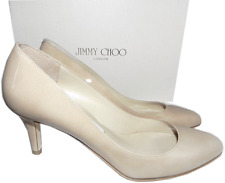 Jimmy Choo 'Vega' Beige Patent Leather Pump Nude Low Heel SHoe 37.5 - 7 New