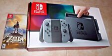 NEW Nintendo Switch Gray Console Plus Legend of Zelda Breath of the Wild Game