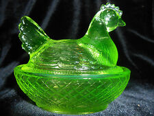 Green Vaseline glass hen chicken on nest basket candy dish rooster chick Uranium