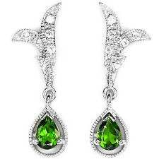 Natural GREEN CHROME DIOPSIDE & WHITE CZ .925 STERLING SILVER EARRINGS