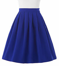 Vintage Stretch High Waist A-Line Retro Skater Flared Pleated Midi Skirt Dress