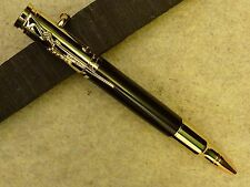 HANDMADE WOODEN BOLT ACTION RIFLE PEN with EBONY BARREL and 24k GOLD TRIM