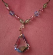 NC499) VINTAGE ANTIQUE RAINBOW IRIS CUT GLASS ART DECO PEAR DROP PENDANT NECKLAC